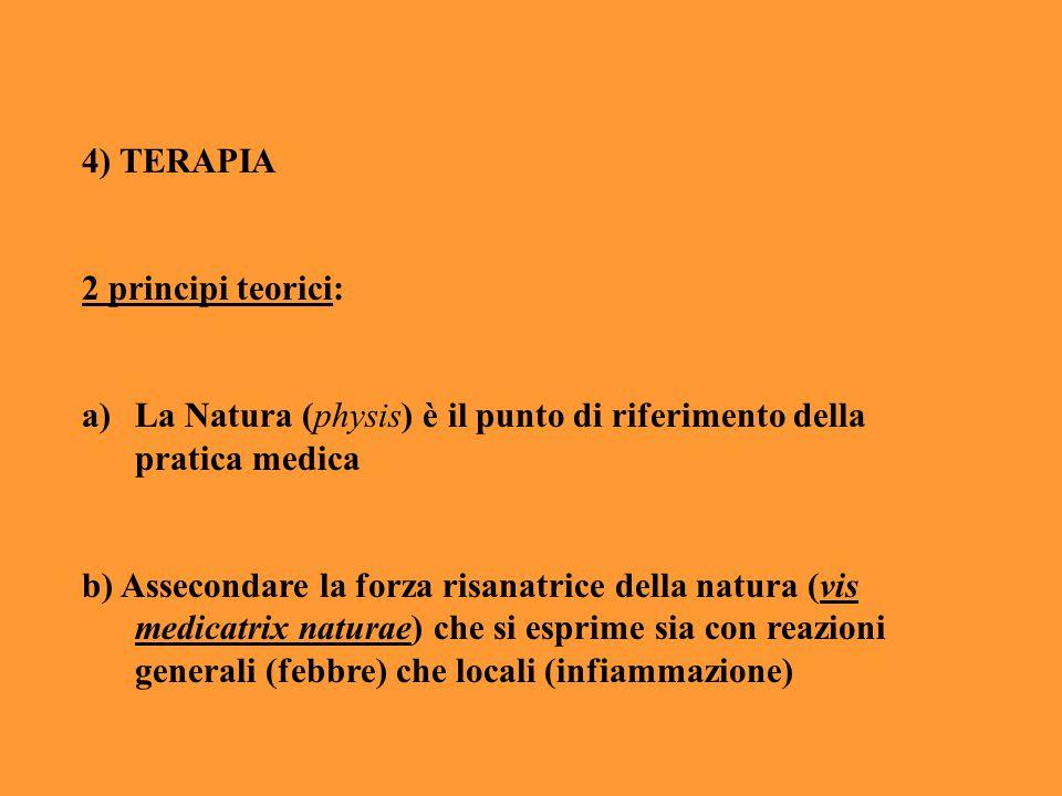 4) TERAPIA 2 principi teorici: a)La Natura (physis) è il punto di riferimento della pratica medica b) Assecondare la forza risanatrice della natura (v