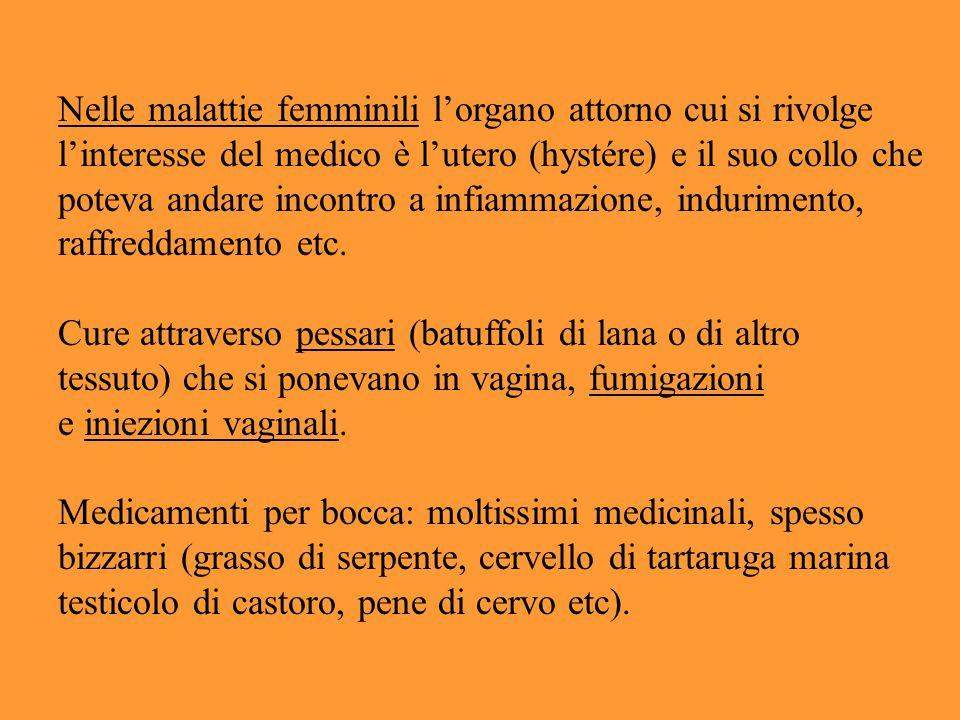 Nelle malattie femminili l'organo attorno cui si rivolge l'interesse del medico è l'utero (hystére) e il suo collo che poteva andare incontro a infiam