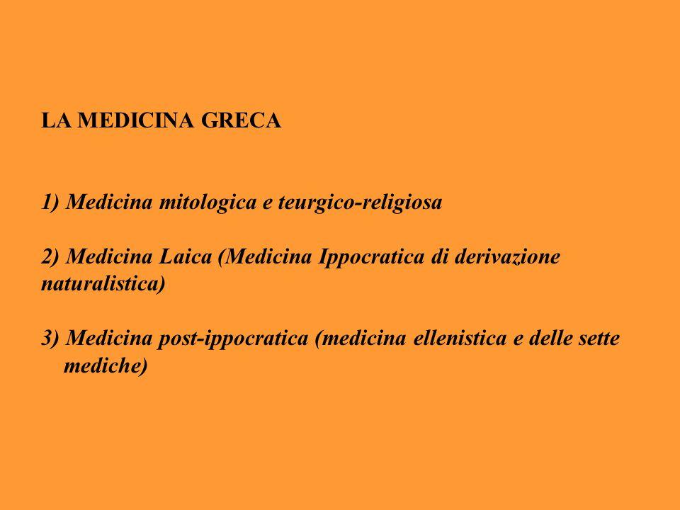 LA MEDICINA GRECA 1) Medicina mitologica e teurgico-religiosa 2) Medicina Laica (Medicina Ippocratica di derivazione naturalistica) 3) Medicina post-i