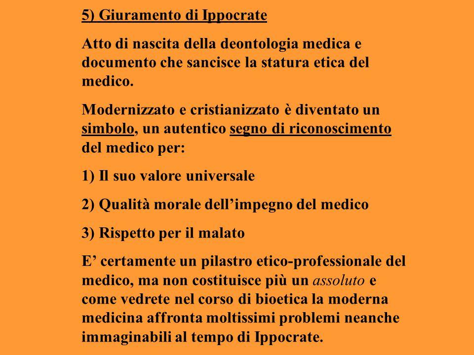 5) Giuramento di Ippocrate Atto di nascita della deontologia medica e documento che sancisce la statura etica del medico. Modernizzato e cristianizzat