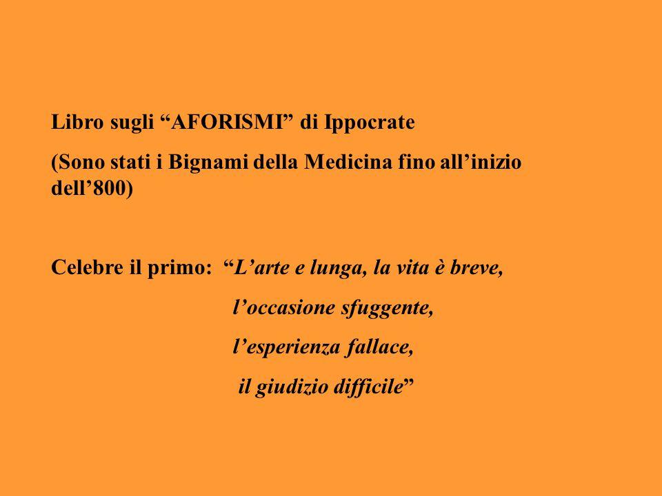 """Libro sugli """"AFORISMI"""" di Ippocrate (Sono stati i Bignami della Medicina fino all'inizio dell'800) Celebre il primo: """"L'arte e lunga, la vita è breve,"""