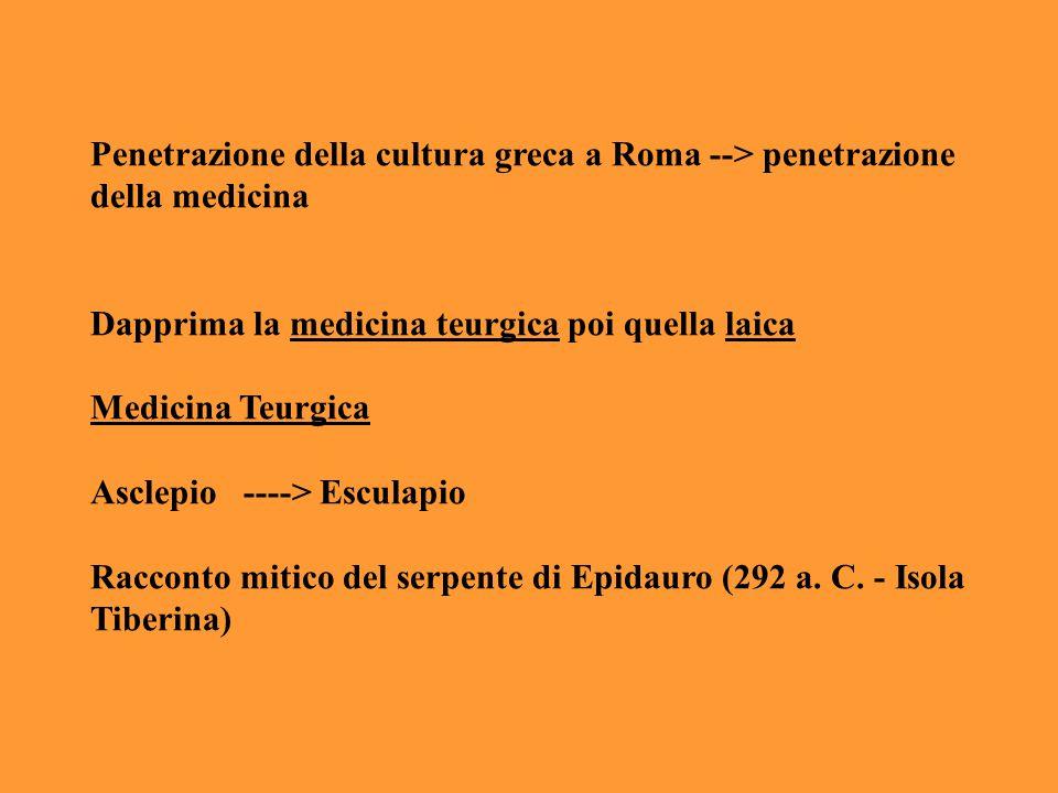 Penetrazione della cultura greca a Roma --> penetrazione della medicina Dapprima la medicina teurgica poi quella laica Medicina Teurgica Asclepio ----