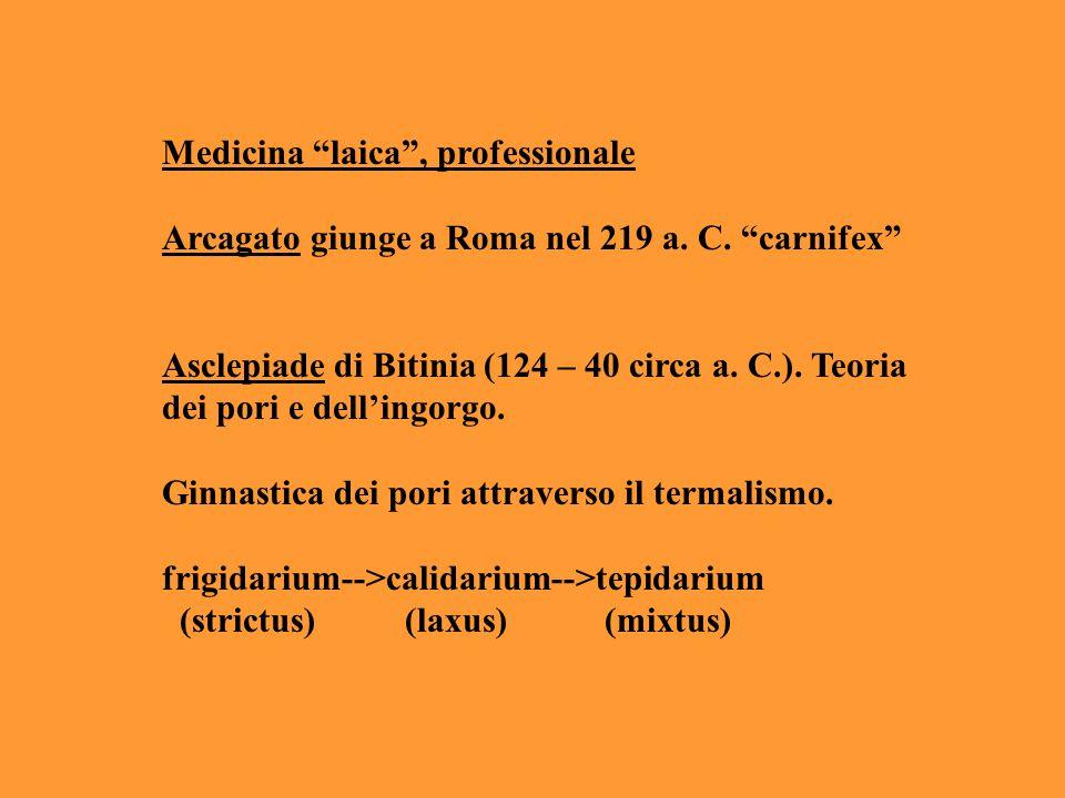 """Medicina """"laica"""", professionale Arcagato giunge a Roma nel 219 a. C. """"carnifex"""" Asclepiade di Bitinia (124 – 40 circa a. C.). Teoria dei pori e dell'i"""