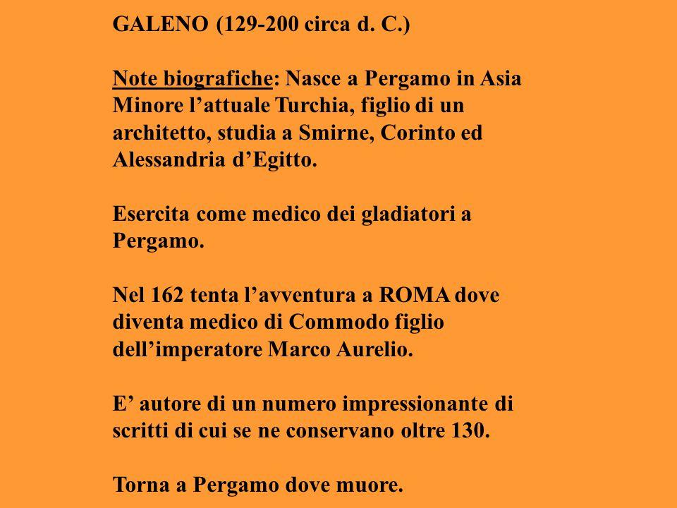 GALENO (129-200 circa d. C.) Note biografiche: Nasce a Pergamo in Asia Minore l'attuale Turchia, figlio di un architetto, studia a Smirne, Corinto ed