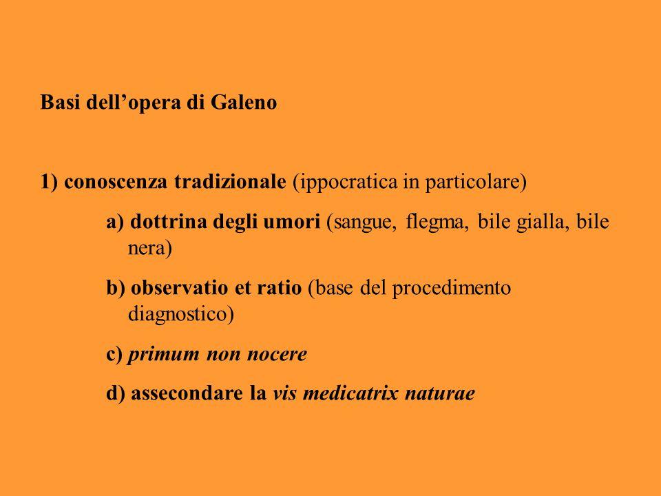 Basi dell'opera di Galeno 1) conoscenza tradizionale (ippocratica in particolare) a) dottrina degli umori (sangue, flegma, bile gialla, bile nera) b)