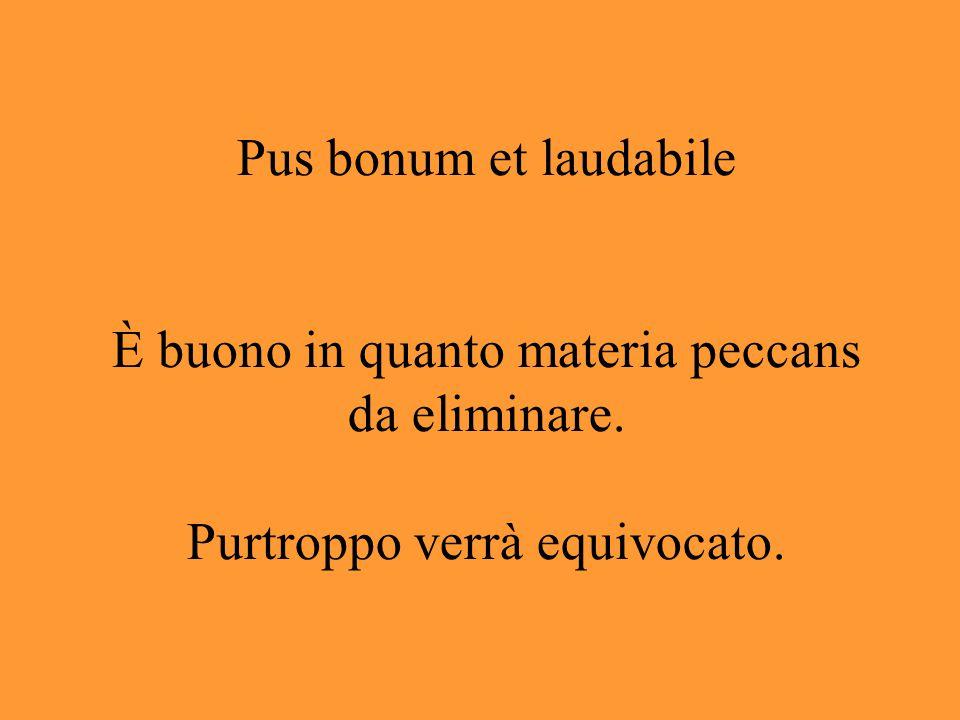 Pus bonum et laudabile È buono in quanto materia peccans da eliminare. Purtroppo verrà equivocato.