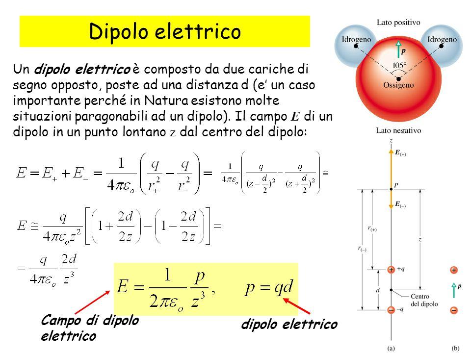 10 Dipolo elettrico Un dipolo elettrico è composto da due cariche di segno opposto, poste ad una distanza d (e' un caso importante perché in Natura esistono molte situazioni paragonabili ad un dipolo).