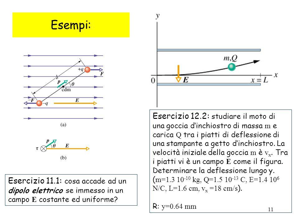 11 Esempi: Esercizio 11.1: cosa accade ad un dipolo elettrico se immesso in un campo E costante ed uniforme? Esercizio 12.2: studiare il moto di una g