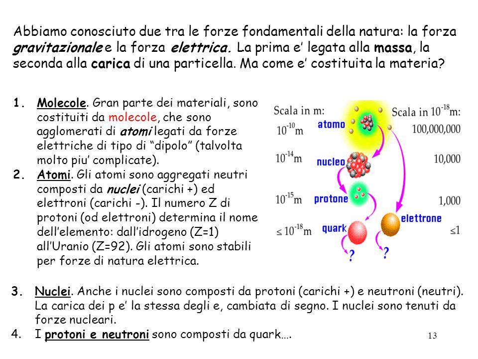 13 Abbiamo conosciuto due tra le forze fondamentali della natura: la forza gravitazionale e la forza elettrica.