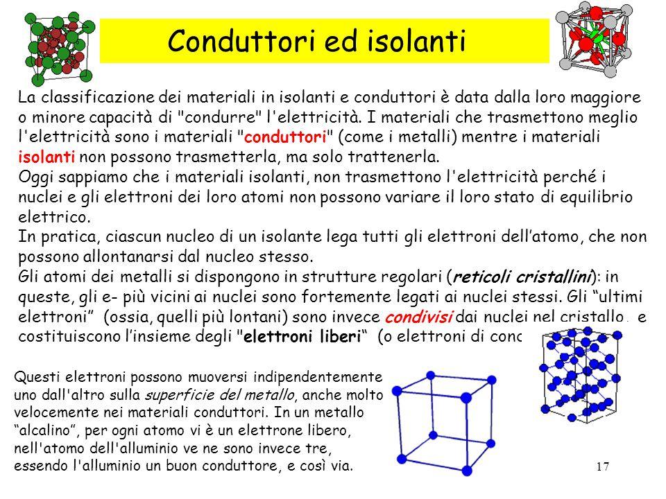 17 Conduttori ed isolanti La classificazione dei materiali in isolanti e conduttori è data dalla loro maggiore o minore capacità di condurre l elettricità.
