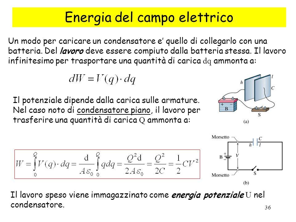 36 Energia del campo elettrico Un modo per caricare un condensatore e' quello di collegarlo con una batteria. Del lavoro deve essere compiuto dalla ba