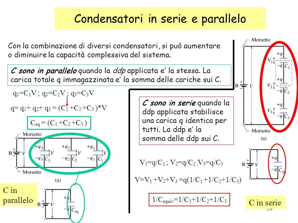 39 Condensatori in serie e parallelo Con la combinazione di diversi condensatori, si può aumentare o diminuire la capacità complessiva del sistema.