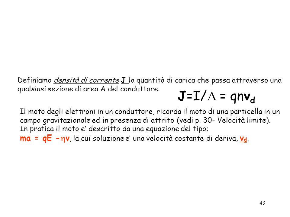 43 Definiamo densità di corrente J la quantità di carica che passa attraverso una qualsiasi sezione di area A del conduttore. J=I/ A = qnv d Il moto d