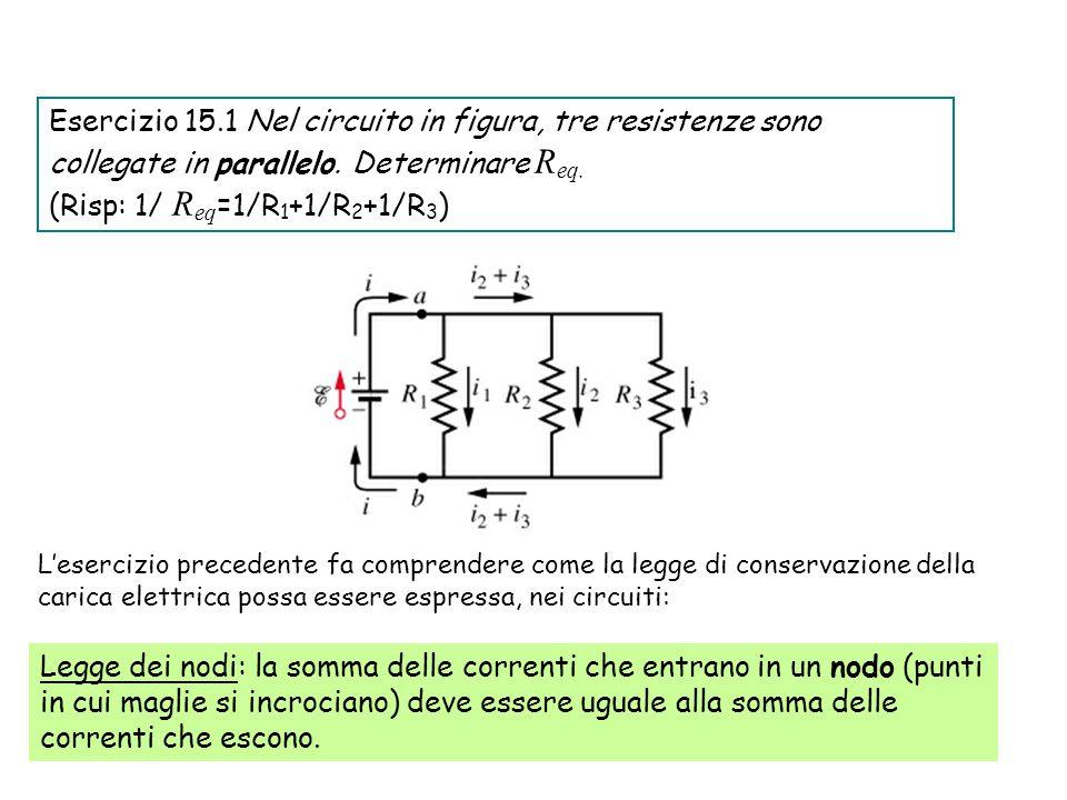 49 Legge dei nodi: la somma delle correnti che entrano in un nodo (punti in cui maglie si incrociano) deve essere uguale alla somma delle correnti che