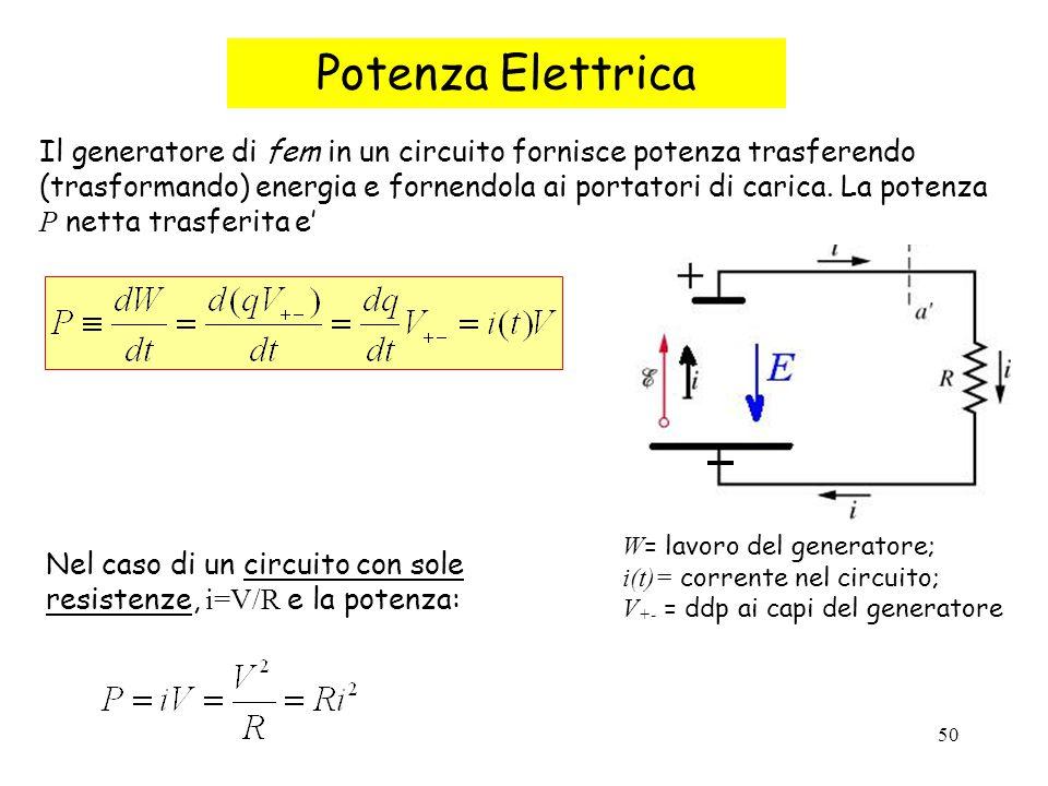 50 Potenza Elettrica Il generatore di fem in un circuito fornisce potenza trasferendo (trasformando) energia e fornendola ai portatori di carica. La p