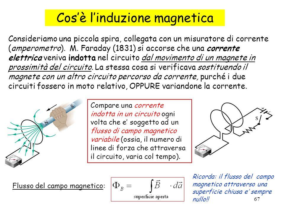 67 Consideriamo una piccola spira, collegata con un misuratore di corrente (amperometro). M. Faraday (1831) si accorse che una corrente elettrica veni