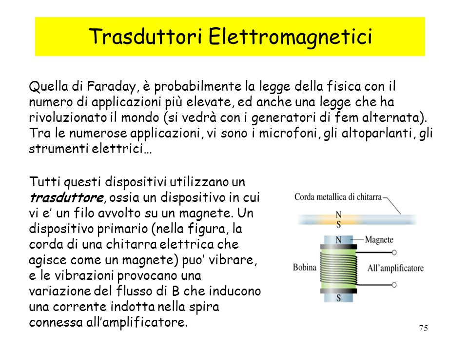 75 Trasduttori Elettromagnetici Quella di Faraday, è probabilmente la legge della fisica con il numero di applicazioni più elevate, ed anche una legge che ha rivoluzionato il mondo (si vedrà con i generatori di fem alternata).