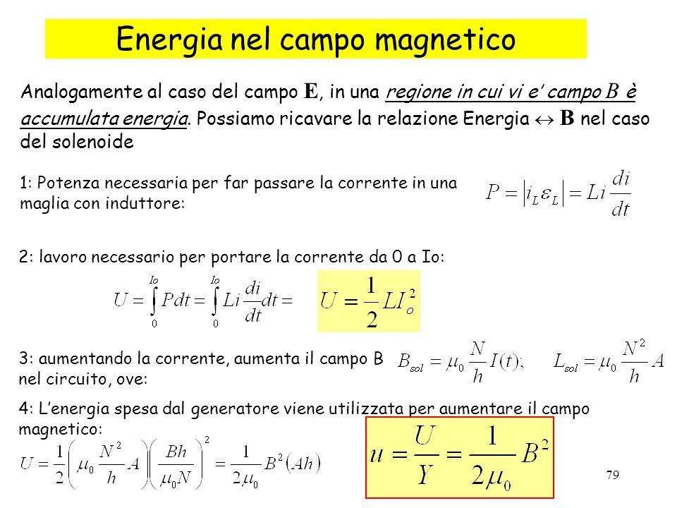 79 Energia nel campo magnetico Analogamente al caso del campo E, in una regione in cui vi e' campo B è accumulata energia. Possiamo ricavare la relazi