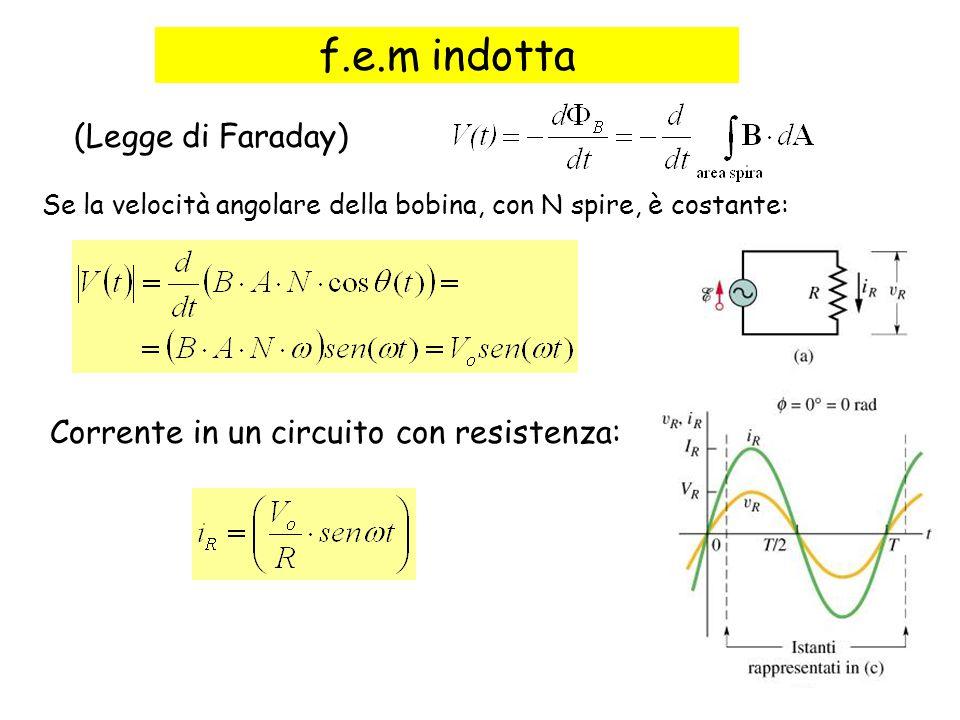 81 f.e.m indotta Se la velocità angolare della bobina, con N spire, è costante: Corrente in un circuito con resistenza: (Legge di Faraday)