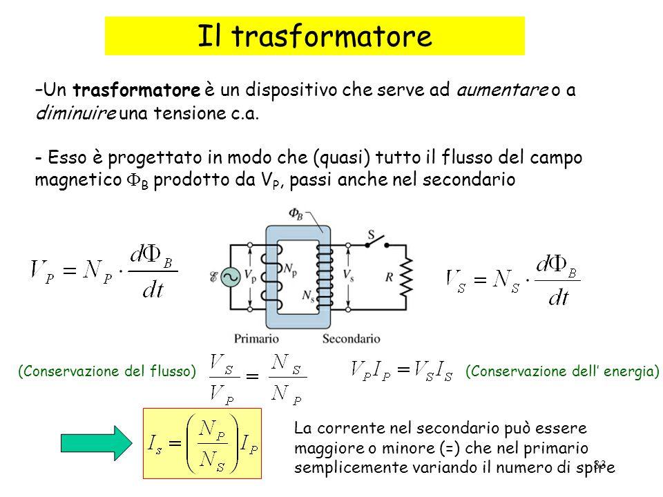 83 Il trasformatore - Un trasformatore è un dispositivo che serve ad aumentare o a diminuire una tensione c.a. - Esso è progettato in modo che (quasi)