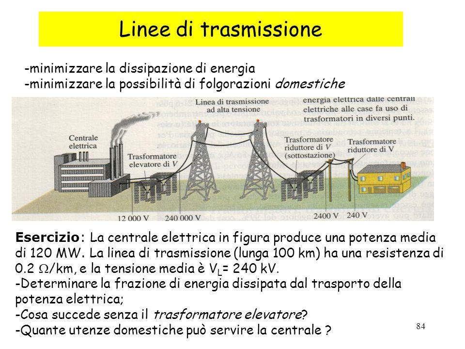 84 Linee di trasmissione -minimizzare la dissipazione di energia -minimizzare la possibilità di folgorazioni domestiche Esercizio: La centrale elettrica in figura produce una potenza media di 120 MW.