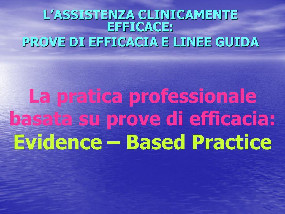 L'ASSISTENZA CLINICAMENTE EFFICACE: PROVE DI EFFICACIA E LINEE GUIDA La pratica professionale basata su prove di efficacia: Evidence – Based Practice