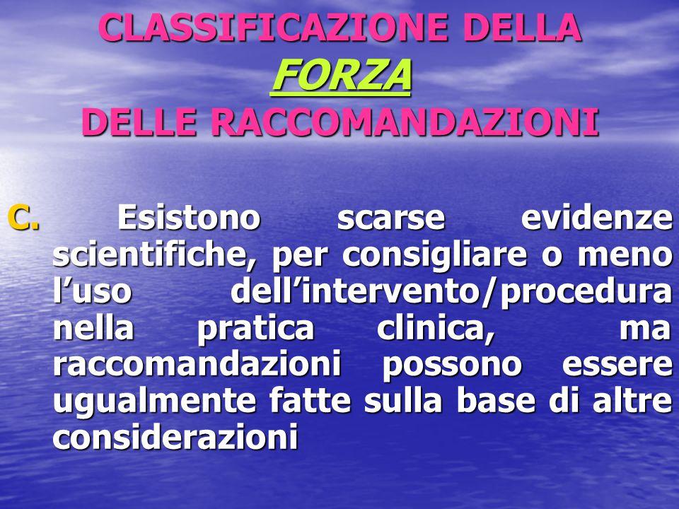 CLASSIFICAZIONE DELLA FORZA DELLE RACCOMANDAZIONI C. Esistono scarse evidenze scientifiche, per consigliare o meno l'uso dell'intervento/procedura nel