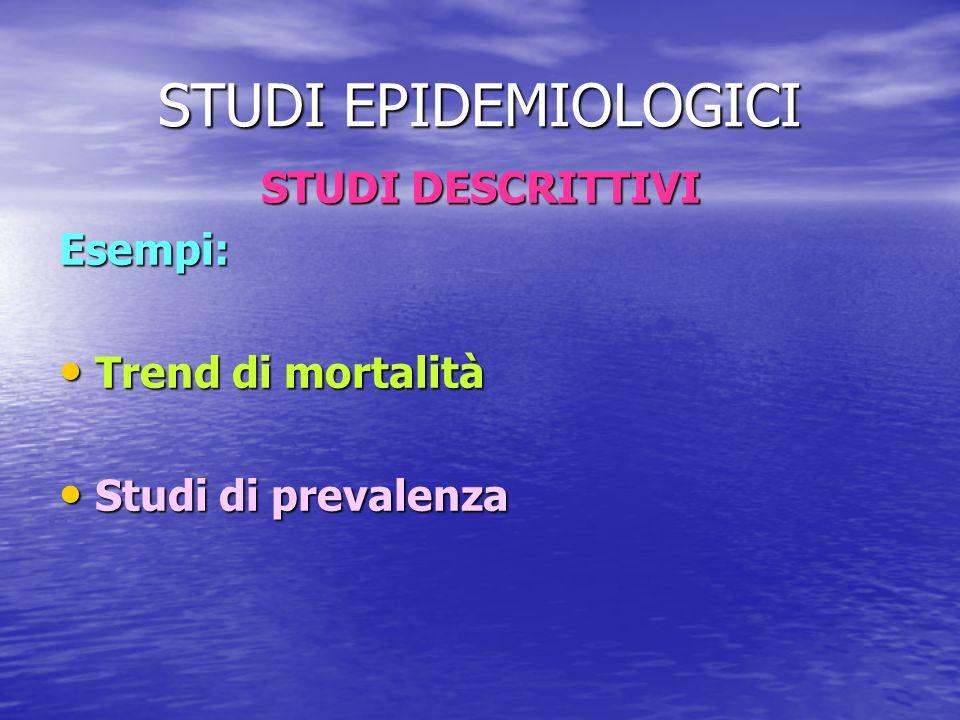 STUDI EPIDEMIOLOGICI STUDI DESCRITTIVI Esempi: Trend di mortalità Trend di mortalità Studi di prevalenza Studi di prevalenza