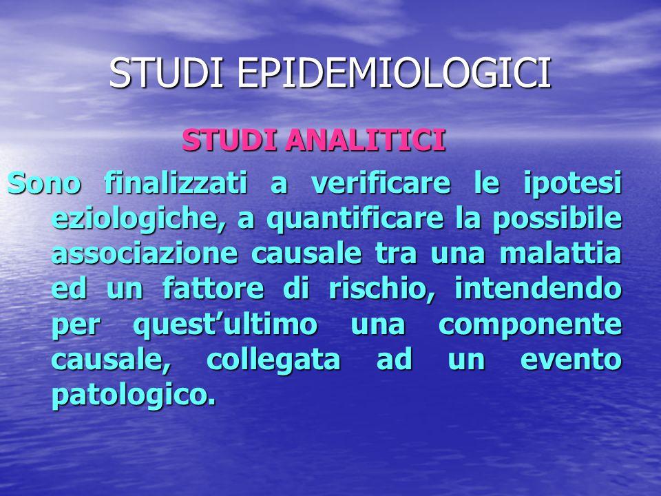 STUDI EPIDEMIOLOGICI STUDI ANALITICI Sono finalizzati a verificare le ipotesi eziologiche, a quantificare la possibile associazione causale tra una ma