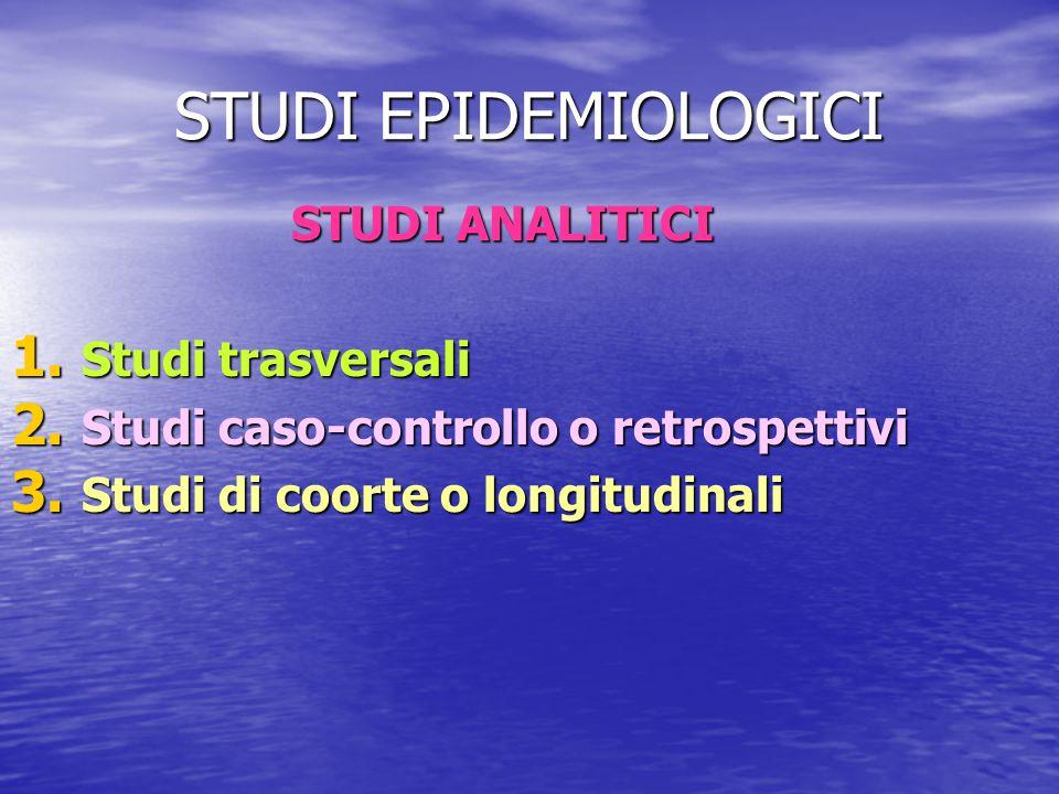 STUDI EPIDEMIOLOGICI STUDI ANALITICI 1. Studi trasversali 2. Studi caso-controllo o retrospettivi 3. Studi di coorte o longitudinali