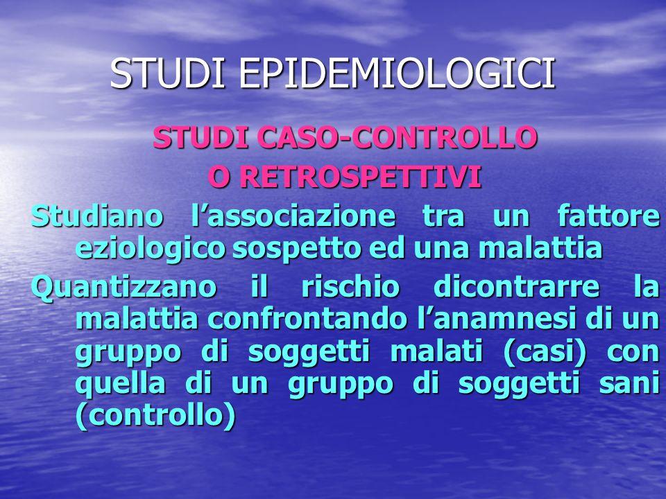 STUDI EPIDEMIOLOGICI STUDI CASO-CONTROLLO O RETROSPETTIVI Studiano l'associazione tra un fattore eziologico sospetto ed una malattia Quantizzano il ri