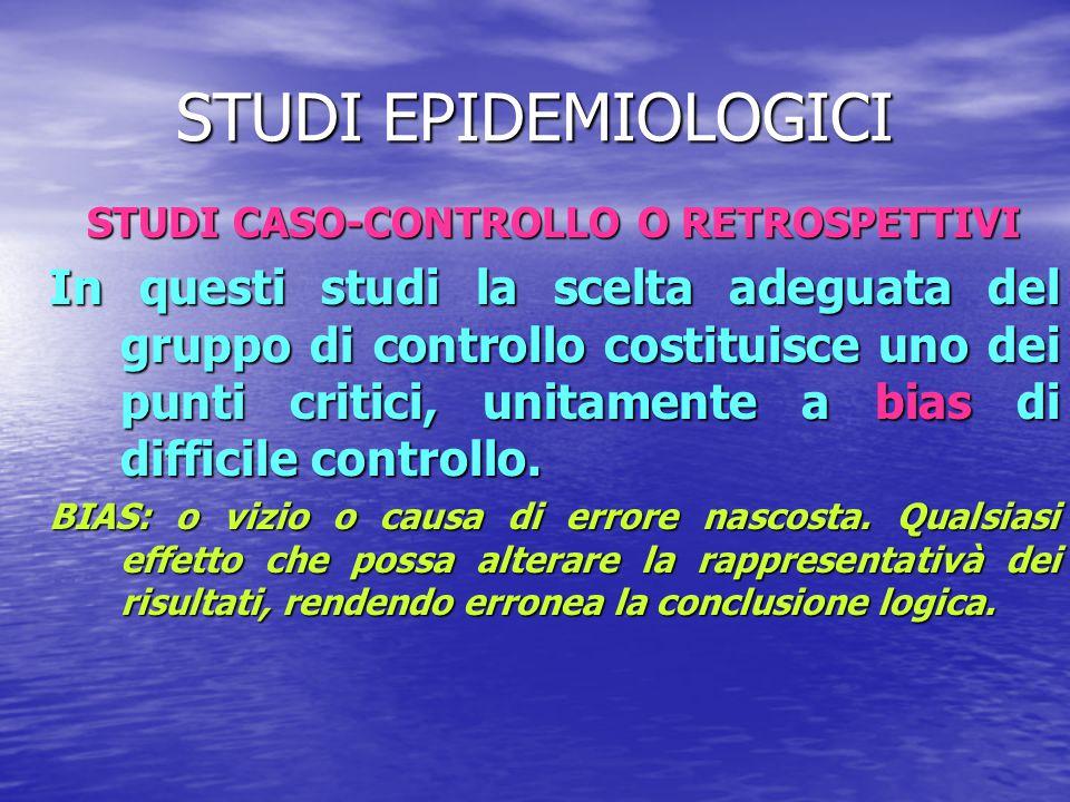 STUDI EPIDEMIOLOGICI STUDI CASO-CONTROLLO O RETROSPETTIVI In questi studi la scelta adeguata del gruppo di controllo costituisce uno dei punti critici