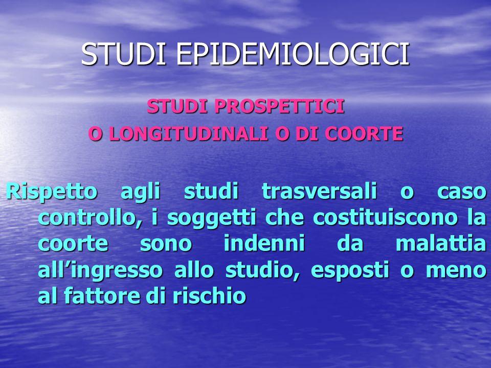 STUDI EPIDEMIOLOGICI STUDI PROSPETTICI O LONGITUDINALI O DI COORTE Rispetto agli studi trasversali o caso controllo, i soggetti che costituiscono la c