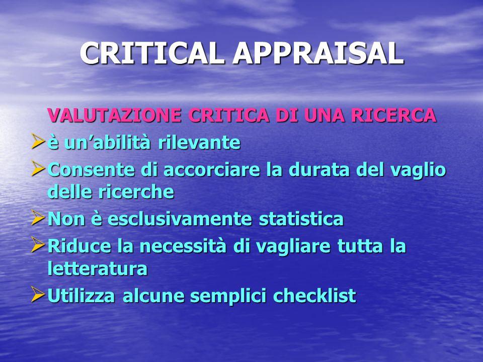 CRITICAL APPRAISAL VALUTAZIONE CRITICA DI UNA RICERCA  è un'abilità rilevante  Consente di accorciare la durata del vaglio delle ricerche  Non è es