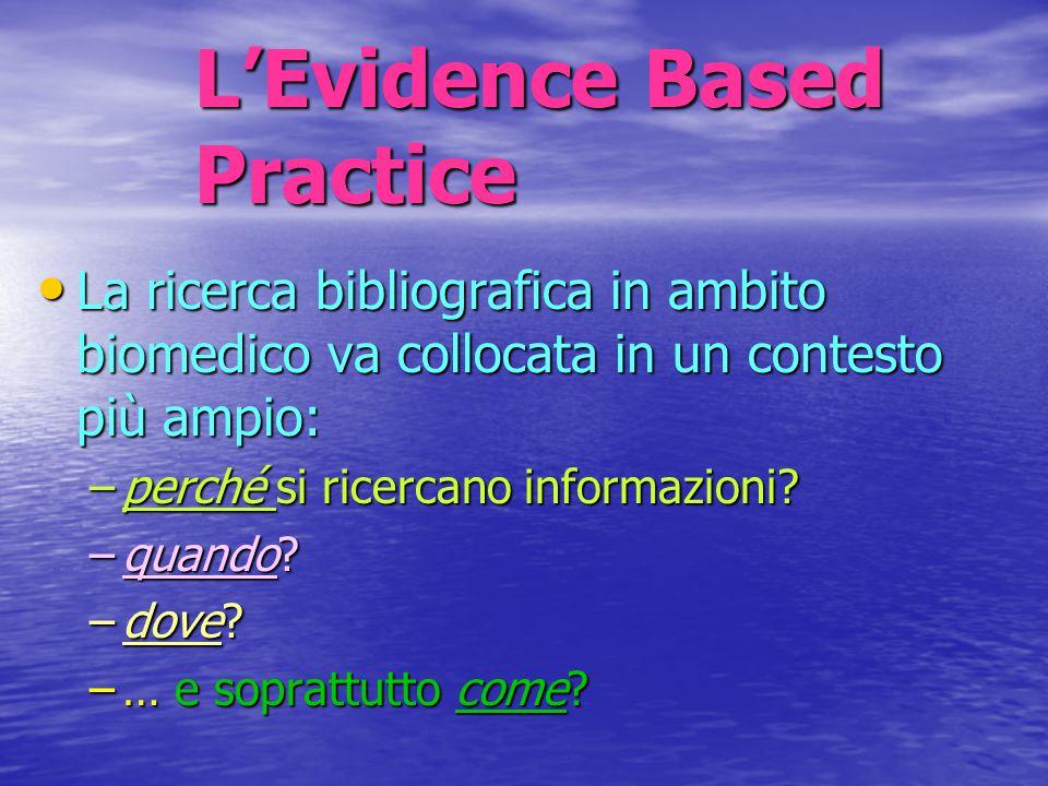 L'Evidence Based Practice La ricerca bibliografica in ambito biomedico va collocata in un contesto più ampio: La ricerca bibliografica in ambito biome