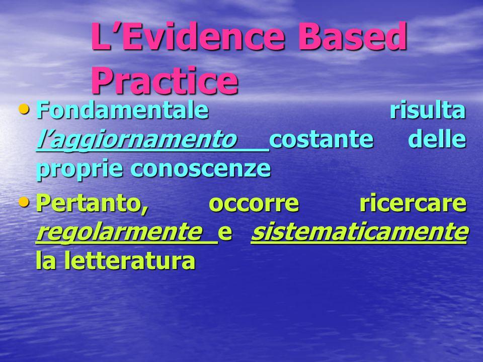L'Evidence Based Practice Fondamentale risulta l'aggiornamento costante delle proprie conoscenze Fondamentale risulta l'aggiornamento costante delle p