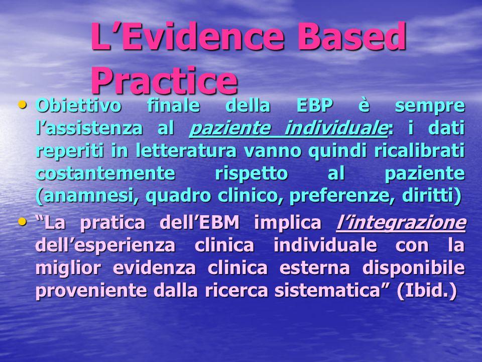 L'Evidence Based Practice Obiettivo finale della EBP è sempre l'assistenza al paziente individuale: i dati reperiti in letteratura vanno quindi ricali