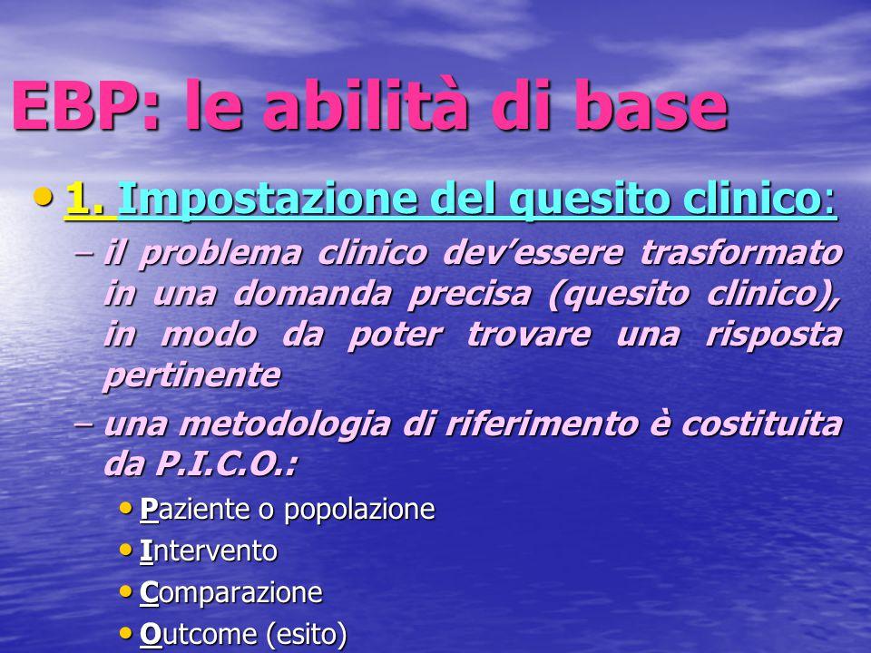 EBP: le abilità di base 1. Impostazione del quesito clinico: 1. Impostazione del quesito clinico: –il problema clinico dev'essere trasformato in una d