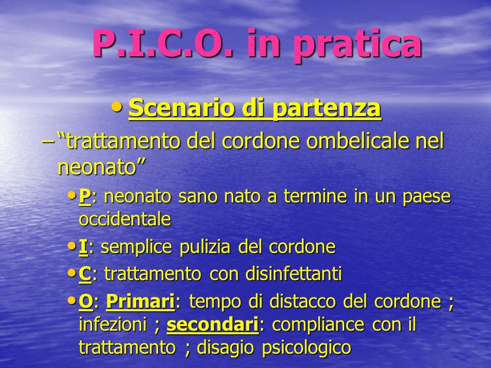 """P.I.C.O. in pratica Scenario di partenza Scenario di partenza –""""trattamento del cordone ombelicale nel neonato"""" P: neonato sano nato a termine in un p"""