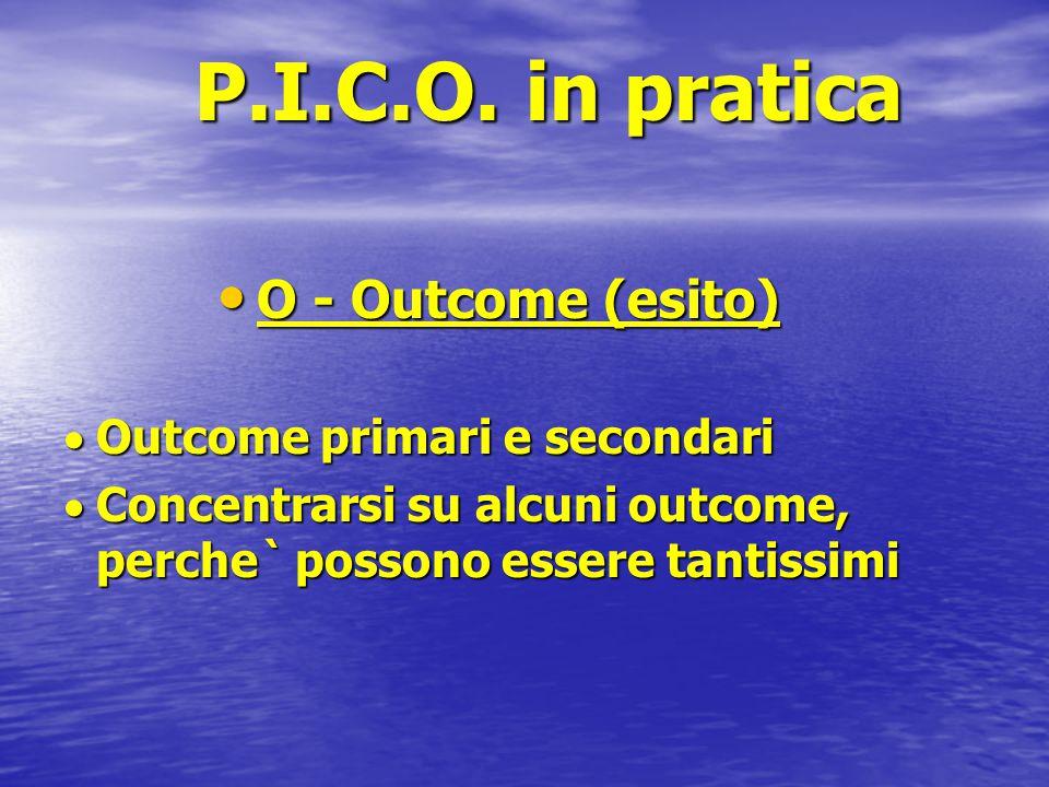 P.I.C.O. in pratica O - Outcome (esito) O - Outcome (esito)  Outcome primari e secondari  Concentrarsi su alcuni outcome, perche` possono essere tan