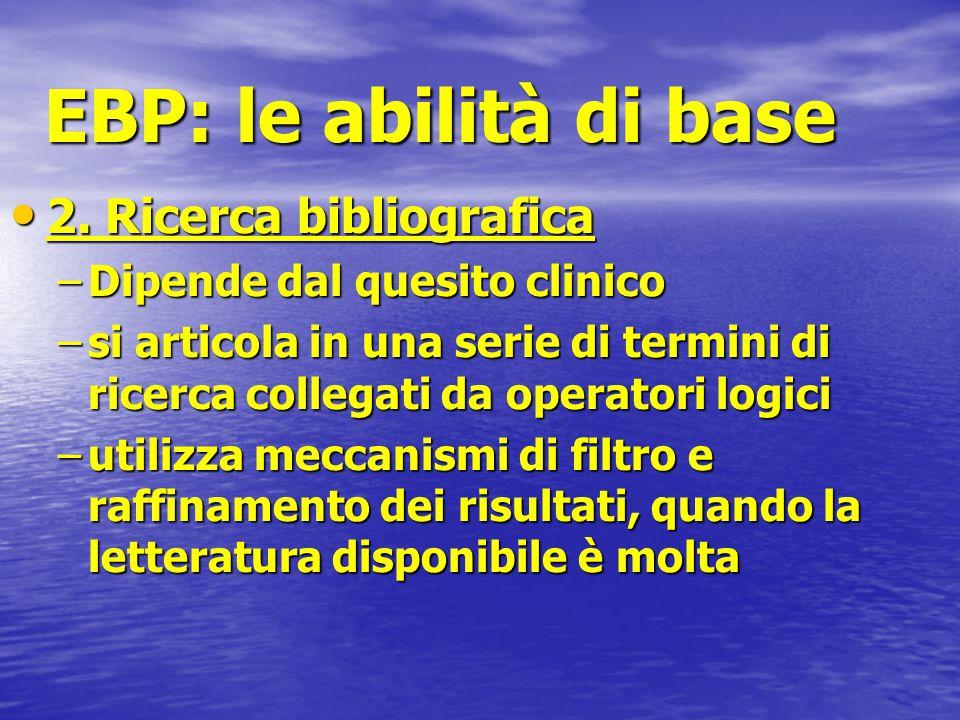 EBP: le abilità di base 2. Ricerca bibliografica 2. Ricerca bibliografica –Dipende dal quesito clinico –si articola in una serie di termini di ricerca