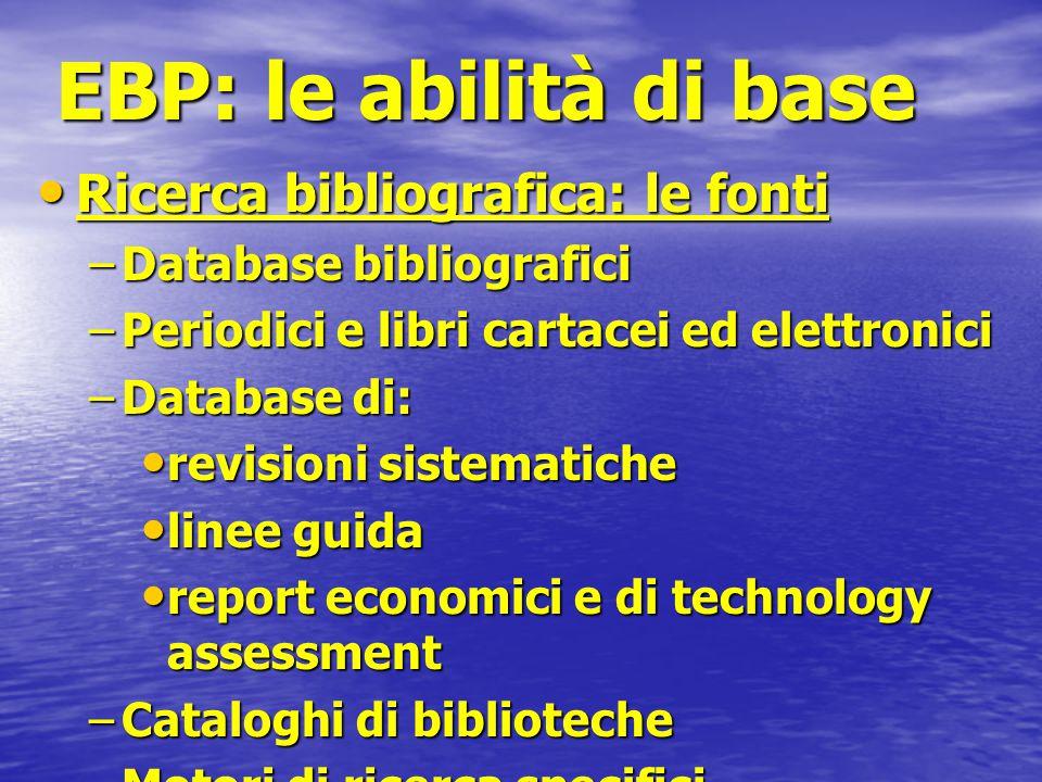 EBP: le abilità di base Ricerca bibliografica: le fonti Ricerca bibliografica: le fonti –Database bibliografici –Periodici e libri cartacei ed elettro