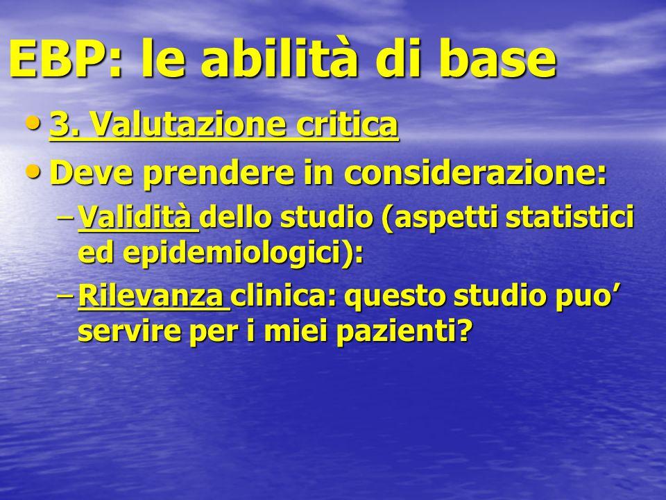 EBP: le abilità di base 3. Valutazione critica 3. Valutazione critica Deve prendere in considerazione: Deve prendere in considerazione: –Validità dell