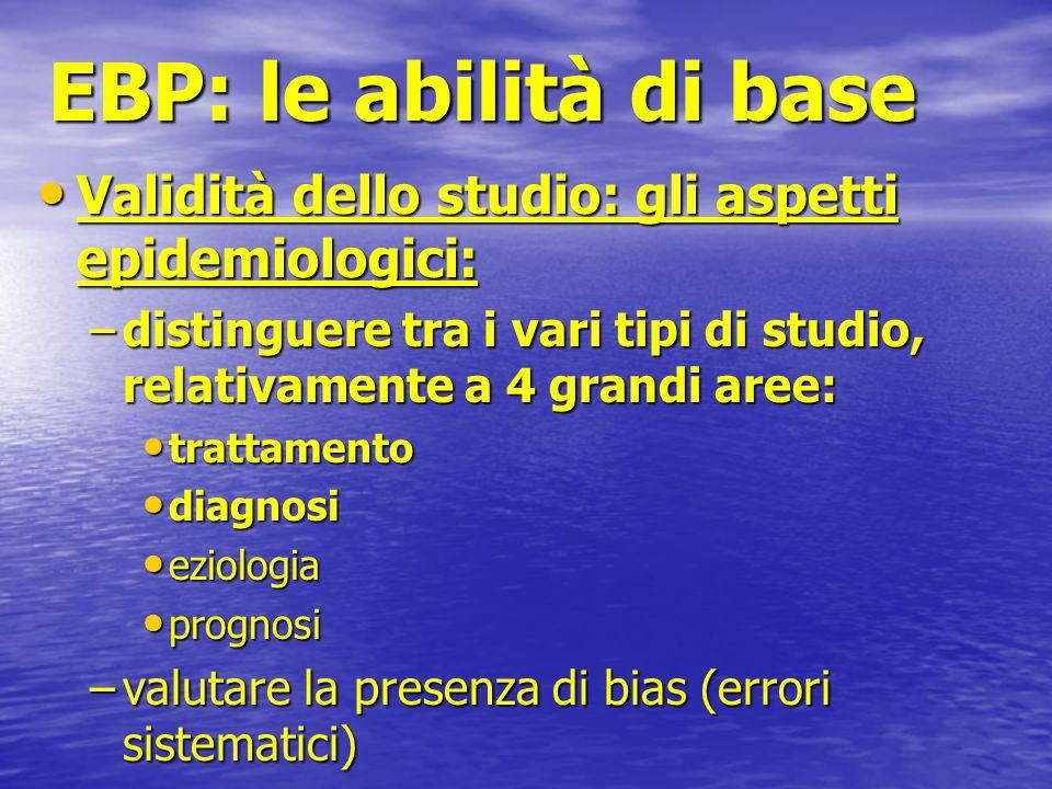 EBP: le abilità di base Validità dello studio: gli aspetti epidemiologici: Validità dello studio: gli aspetti epidemiologici: –distinguere tra i vari