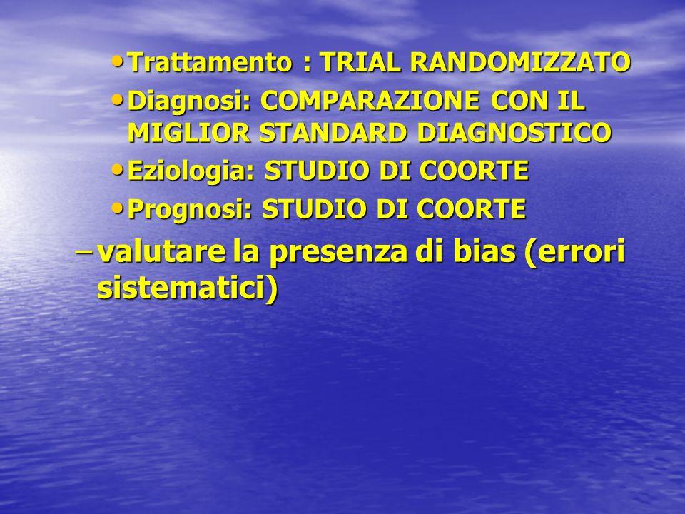 Trattamento : TRIAL RANDOMIZZATO Trattamento : TRIAL RANDOMIZZATO Diagnosi: COMPARAZIONE CON IL MIGLIOR STANDARD DIAGNOSTICO Diagnosi: COMPARAZIONE CO