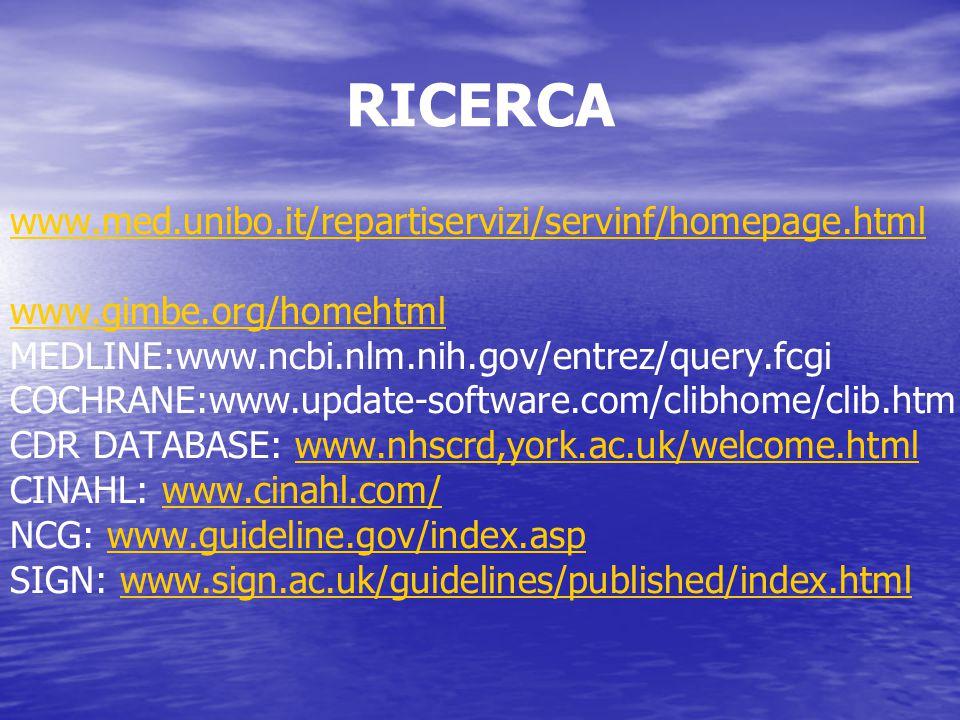 RICERCA www.med.unibo.it/repartiservizi/servinf/homepage.html www.gimbe.org/homehtml MEDLINE:www.ncbi.nlm.nih.gov/entrez/query.fcgi COCHRANE:www.updat