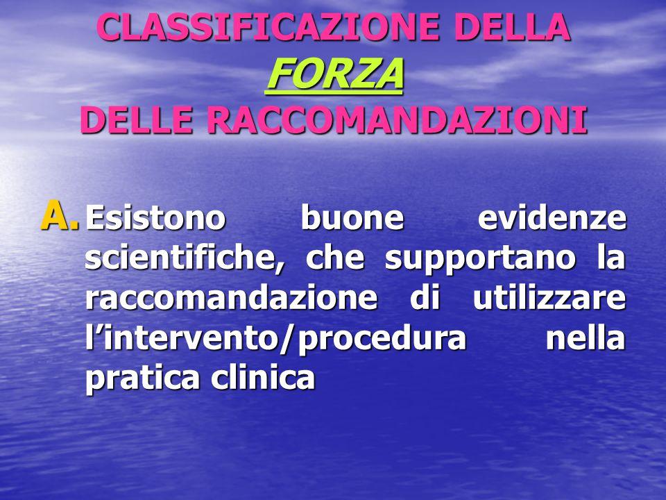 CLASSIFICAZIONE DELLA FORZA DELLE RACCOMANDAZIONI B.