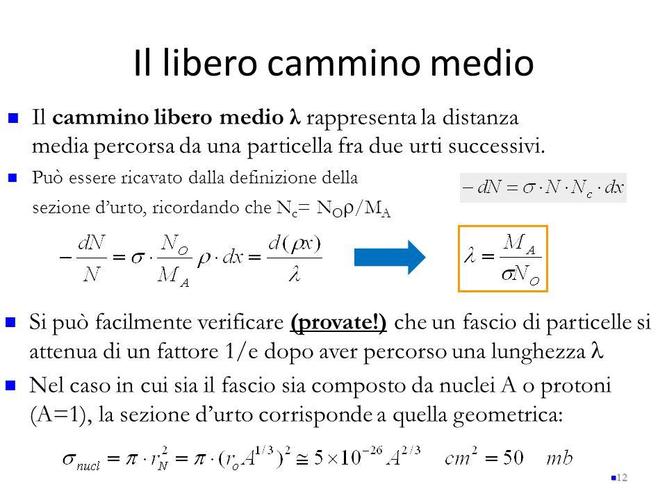 Il libero cammino medio 12 Il cammino libero medio λ rappresenta la distanza media percorsa da una particella fra due urti successivi. Può essere rica