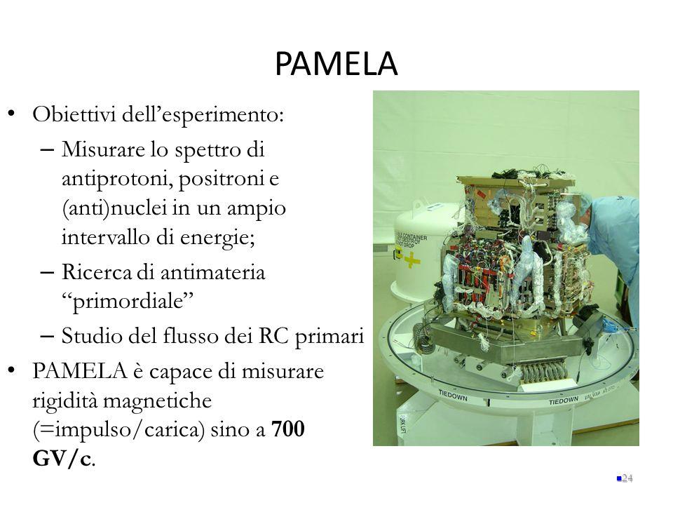 PAMELA Obiettivi dell'esperimento: – Misurare lo spettro di antiprotoni, positroni e (anti)nuclei in un ampio intervallo di energie; – Ricerca di anti