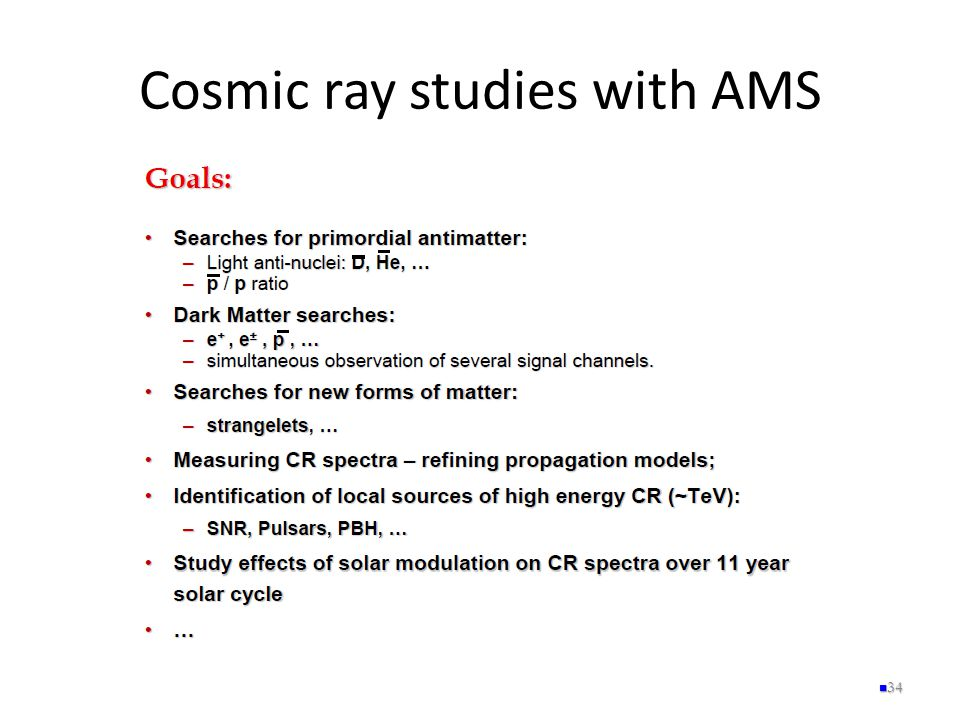 Cosmic ray studies with AMS 34